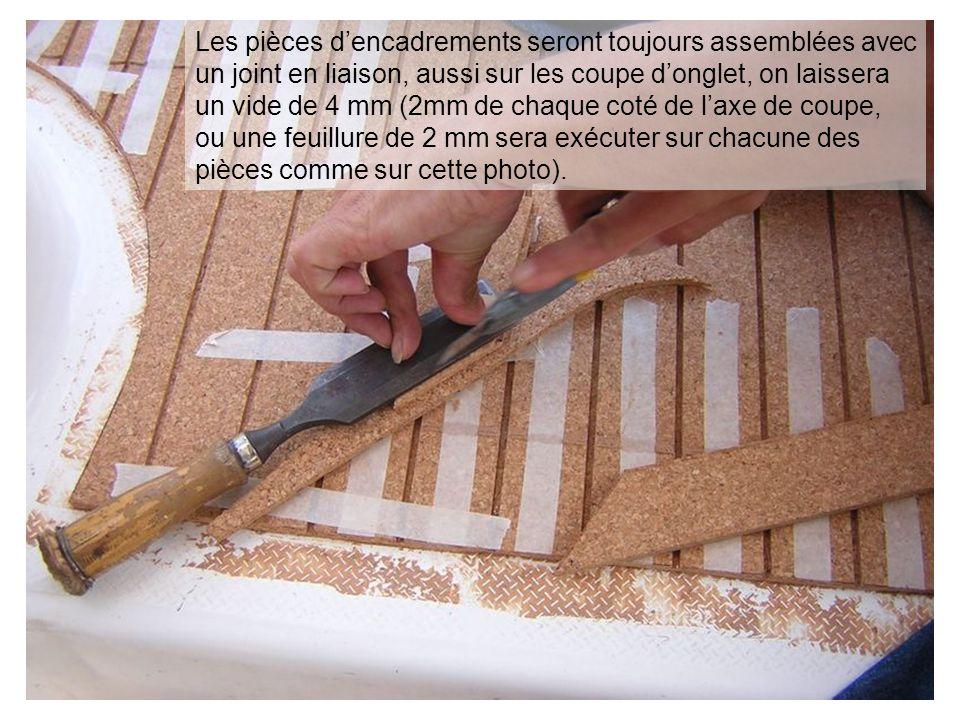 Les pièces dencadrements seront toujours assemblées avec un joint en liaison, aussi sur les coupe donglet, on laissera un vide de 4 mm (2mm de chaque