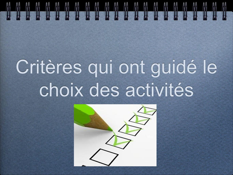 Critères qui ont guidé le choix des activités