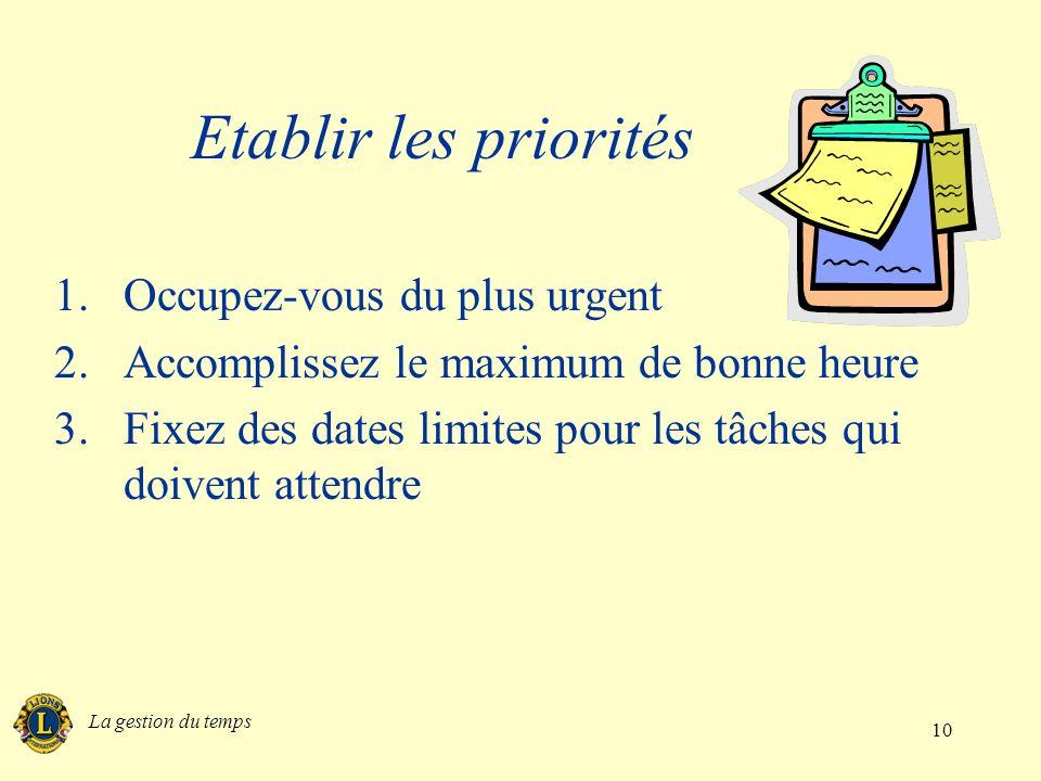La gestion du temps 10 Etablir les priorités 1.Occupez-vous du plus urgent 2.Accomplissez le maximum de bonne heure 3.Fixez des dates limites pour les