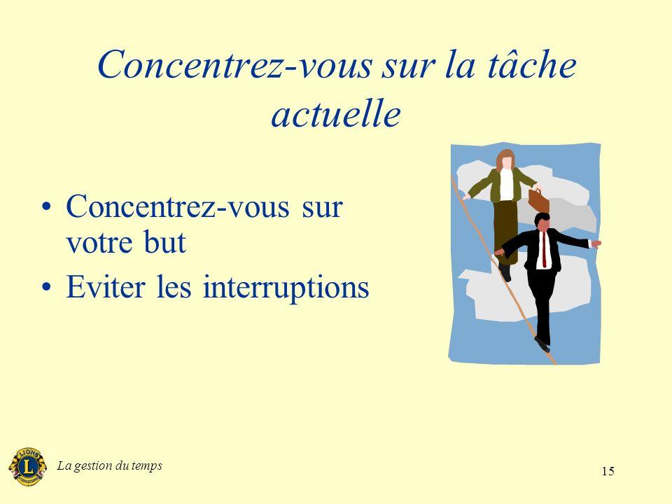 La gestion du temps 15 Concentrez-vous sur la tâche actuelle Concentrez-vous sur votre but Eviter les interruptions
