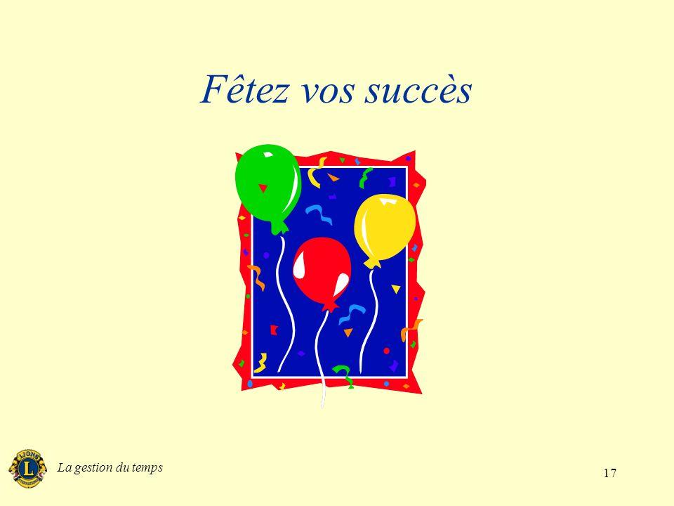 La gestion du temps 17 Fêtez vos succès