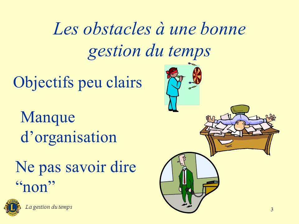 La gestion du temps 4 Les obstacles à une bonne gestion du temps Interruptions Encore des interruptions Périodes dinactivité
