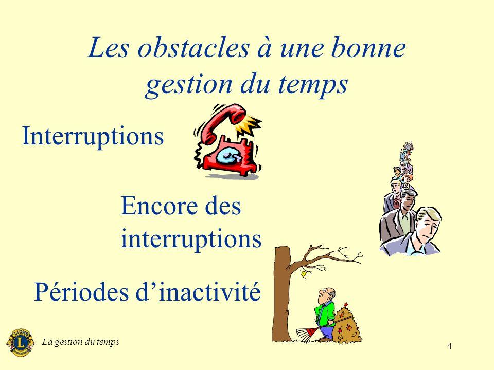 La gestion du temps 5 Les obstacles à une bonne gestion du temps Trop de choses à la fois Stress et fatigue Sadonner exclusive- ment au travail, aucun loisir