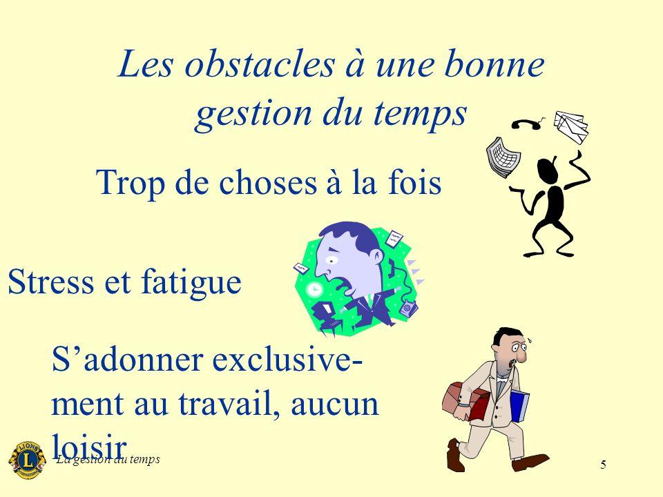 La gestion du temps 5 Les obstacles à une bonne gestion du temps Trop de choses à la fois Stress et fatigue Sadonner exclusive- ment au travail, aucun