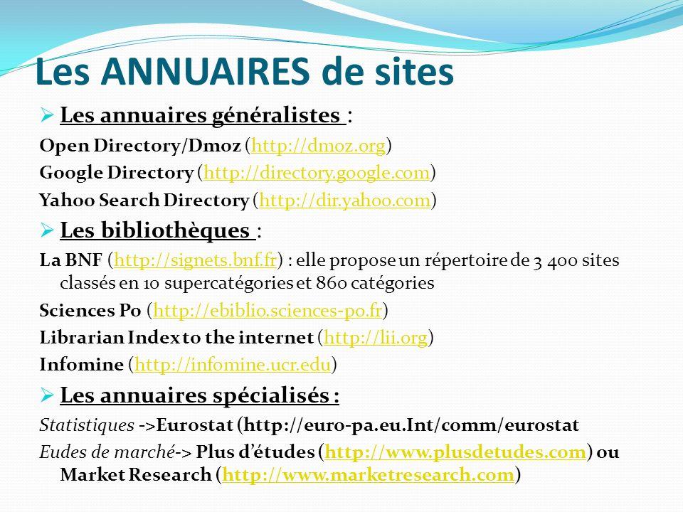 Les ANNUAIRES de sites Les annuaires généralistes : Open Directory/Dmoz (http://dmoz.org)http://dmoz.org Google Directory (http://directory.google.com