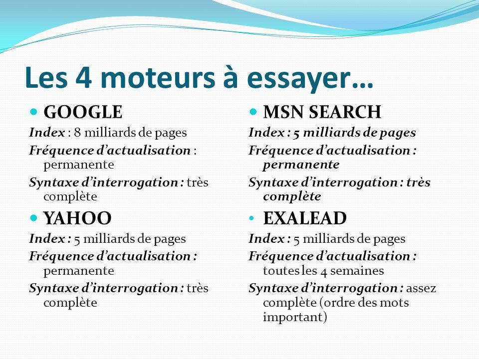 Les 4 moteurs à essayer… GOOGLE Index : 8 milliards de pages Fréquence dactualisation : permanente Syntaxe dinterrogation : très complète YAHOO Index