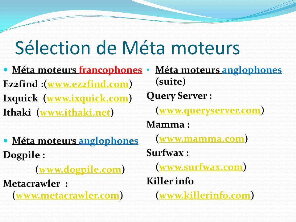 Sélection de Méta moteurs Méta moteurs francophones Ez2find :(www.ez2find.com)www.ez2find.com Ixquick (www.ixquick.com)www.ixquick.com Ithaki (www.ith
