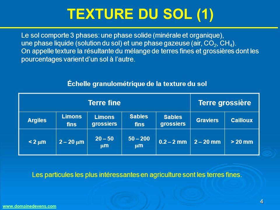 4 TEXTURE DU SOL (1) Terre fineTerre grossière Argiles Limons fins Limons grossiers Sables fins Sables grossiers GraviersCailloux < 2 m2 – 20 m 20 – 50 m 50 – 200 m 0.2 – 2 mm2 – 20 mm> 20 mm Le sol comporte 3 phases: une phase solide (minérale et organique), une phase liquide (solution du sol) et une phase gazeuse (air, CO 2, CH 4 ).