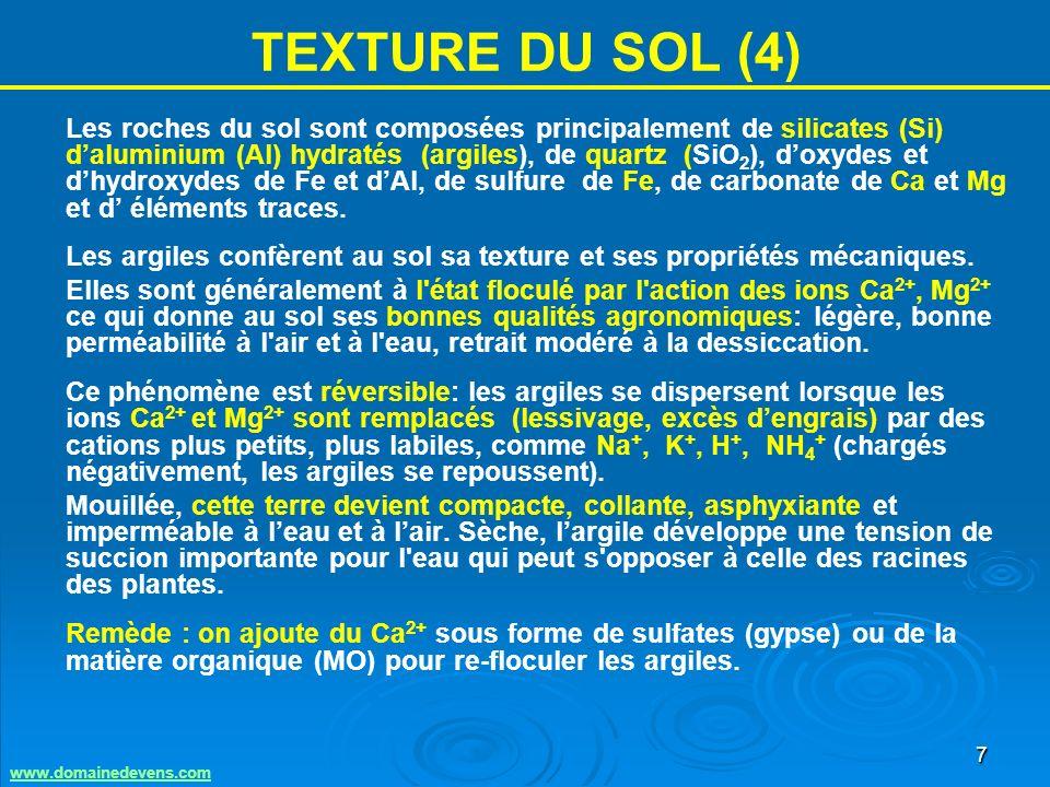 7 TEXTURE DU SOL (4) Les roches du sol sont composées principalement de silicates (Si) daluminium (Al) hydratés (argiles), de quartz (SiO 2 ), doxydes et dhydroxydes de Fe et dAl, de sulfure de Fe, de carbonate de Ca et Mg et d éléments traces.