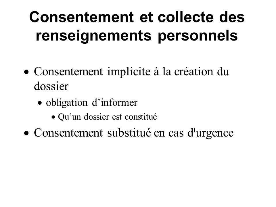 Consentement et collecte des renseignements personnels Consentement implicite à la création du dossier obligation dinformer Quun dossier est constitué Consentement substitué en cas d urgence