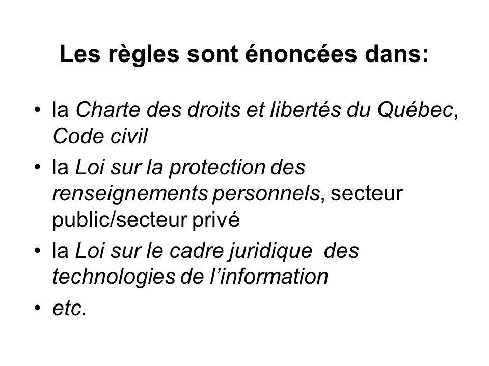 Les règles sont énoncées dans: la Charte des droits et libertés du Québec, Code civil la Loi sur la protection des renseignements personnels, secteur public/secteur privé la Loi sur le cadre juridique des technologies de linformation etc.