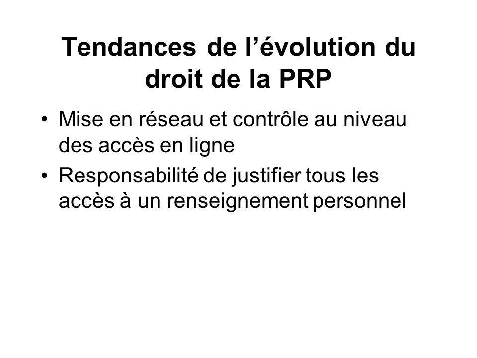 Tendances de lévolution du droit de la PRP Mise en réseau et contrôle au niveau des accès en ligne Responsabilité de justifier tous les accès à un renseignement personnel