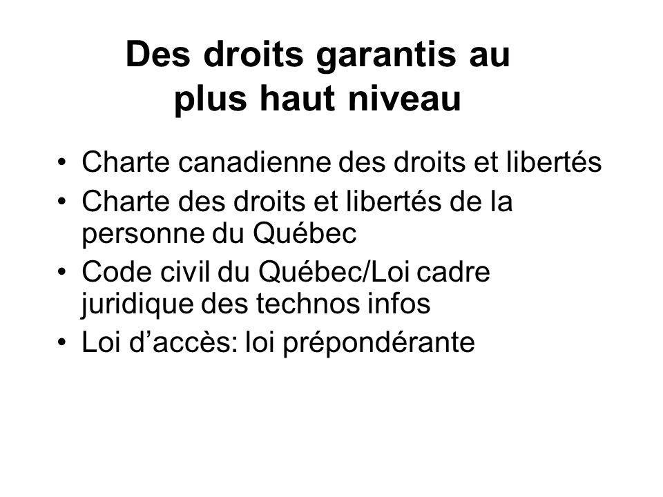 Des droits garantis au plus haut niveau Charte canadienne des droits et libertés Charte des droits et libertés de la personne du Québec Code civil du Québec/Loi cadre juridique des technos infos Loi daccès: loi prépondérante