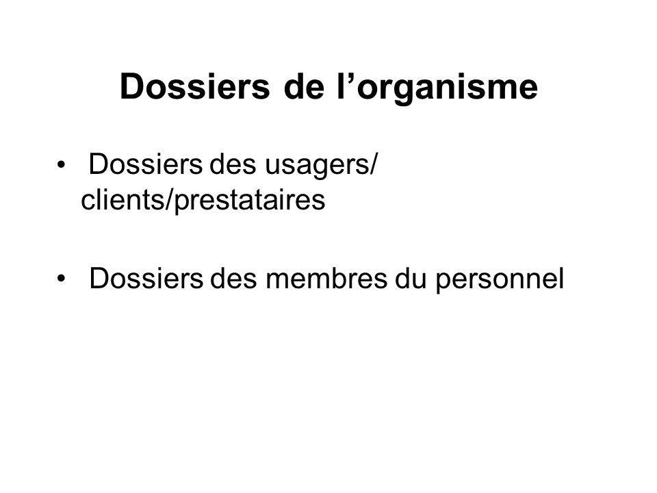 Dossiers de lorganisme Dossiers des usagers/ clients/prestataires Dossiers des membres du personnel