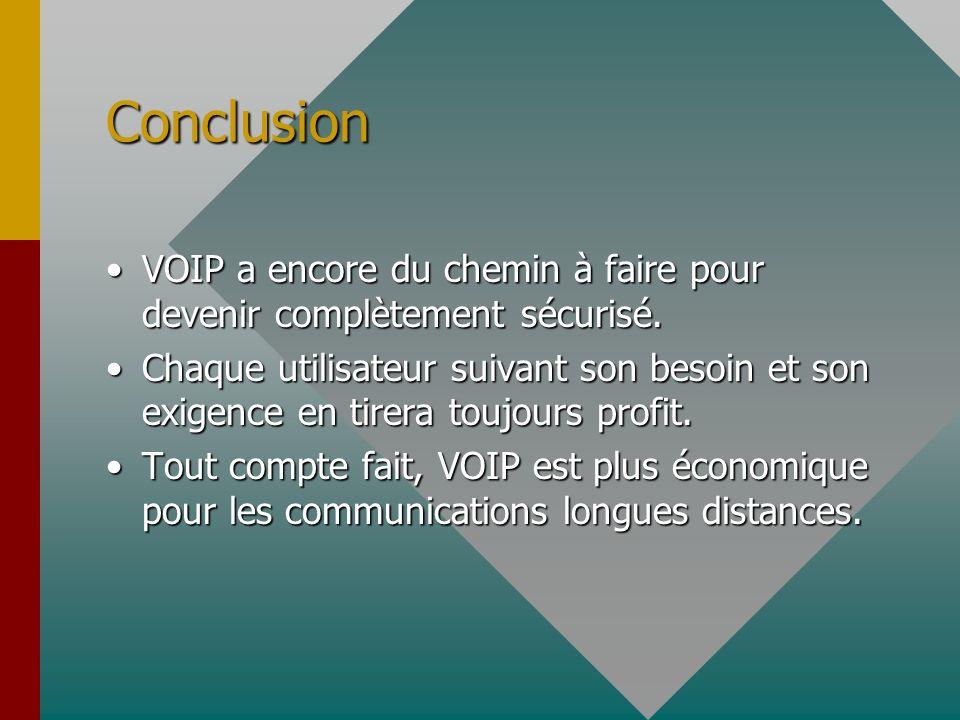 Conclusion VOIP a encore du chemin à faire pour devenir complètement sécurisé.VOIP a encore du chemin à faire pour devenir complètement sécurisé.