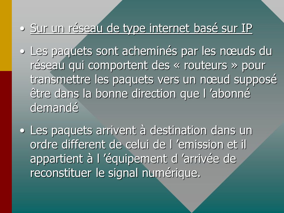 Sur un réseau de type internet basé sur IPSur un réseau de type internet basé sur IP Les paquets sont acheminés par les nœuds du réseau qui comportent des « routeurs » pour transmettre les paquets vers un nœud supposé être dans la bonne direction que l abonné demandéLes paquets sont acheminés par les nœuds du réseau qui comportent des « routeurs » pour transmettre les paquets vers un nœud supposé être dans la bonne direction que l abonné demandé Les paquets arrivent à destination dans un ordre different de celui de l emission et il appartient à l équipement d arrivée de reconstituer le signal numérique.Les paquets arrivent à destination dans un ordre different de celui de l emission et il appartient à l équipement d arrivée de reconstituer le signal numérique.