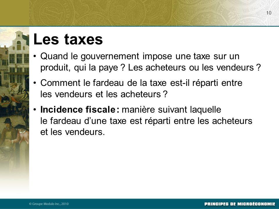Quand le gouvernement impose une taxe sur un produit, qui la paye .
