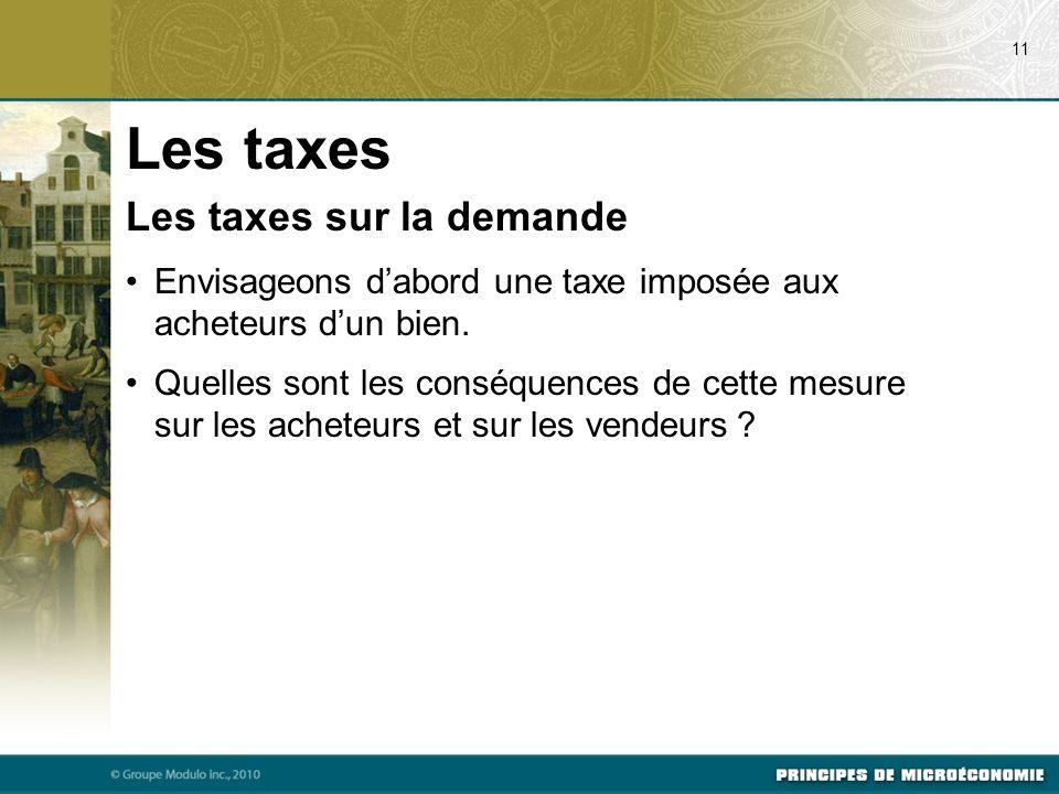 Les taxes sur la demande Envisageons dabord une taxe imposée aux acheteurs dun bien.