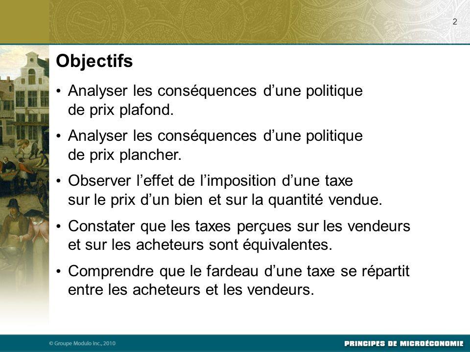 Objectifs 2 Analyser les conséquences dune politique de prix plafond.