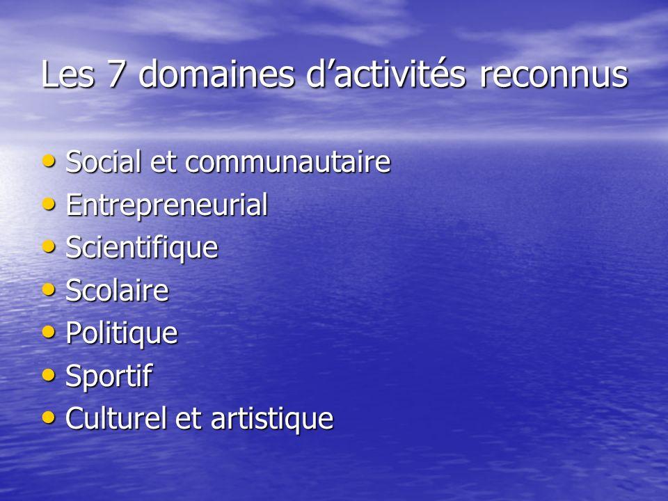 Les 7 domaines dactivités reconnus Social et communautaire Social et communautaire Entrepreneurial Entrepreneurial Scientifique Scientifique Scolaire Scolaire Politique Politique Sportif Sportif Culturel et artistique Culturel et artistique