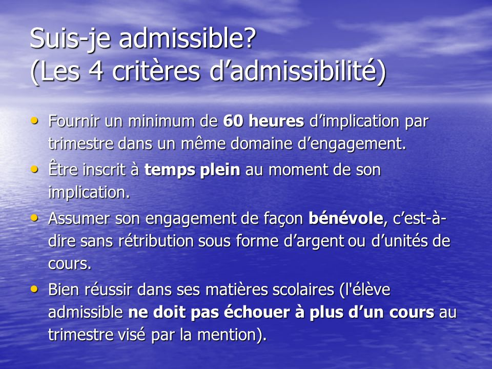 Suis-je admissible.