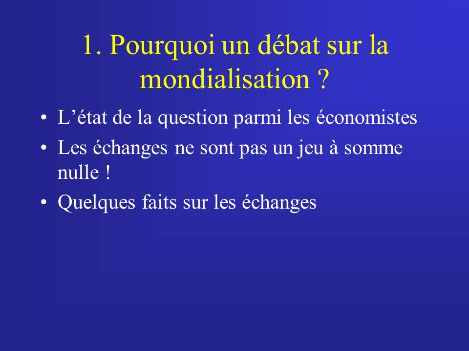 1.Pourquoi un débat sur la mondialisation .