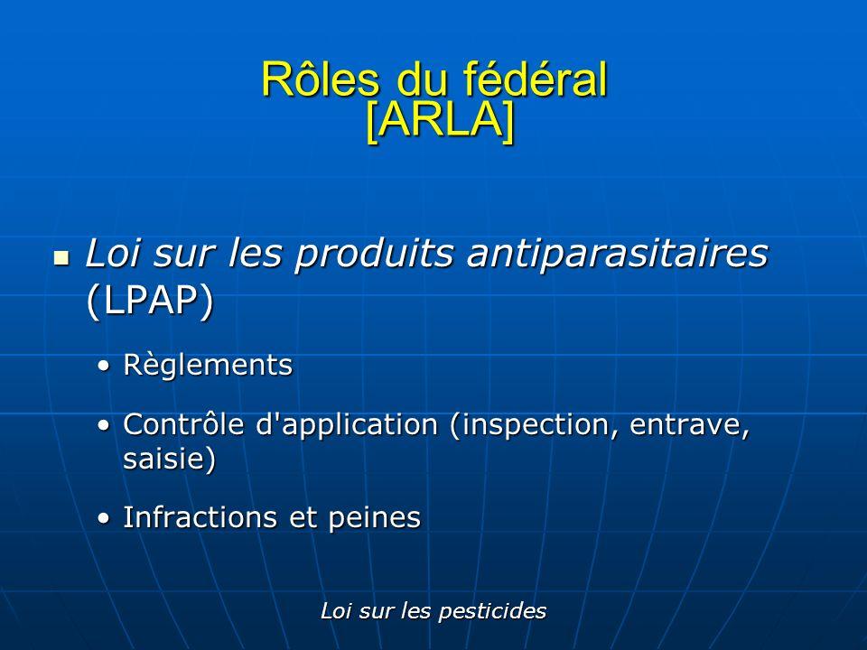 Loi sur les pesticides Rôles du fédéral [ARLA] Loi sur les produits antiparasitaires (LPAP) Loi sur les produits antiparasitaires (LPAP) RèglementsRèg