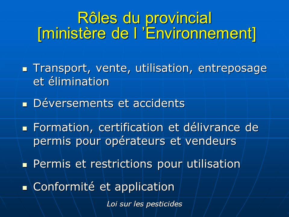 Loi sur les pesticides Rôles du provincial [ministère de l Environnement] Transport, vente, utilisation, entreposage et élimination Transport, vente,