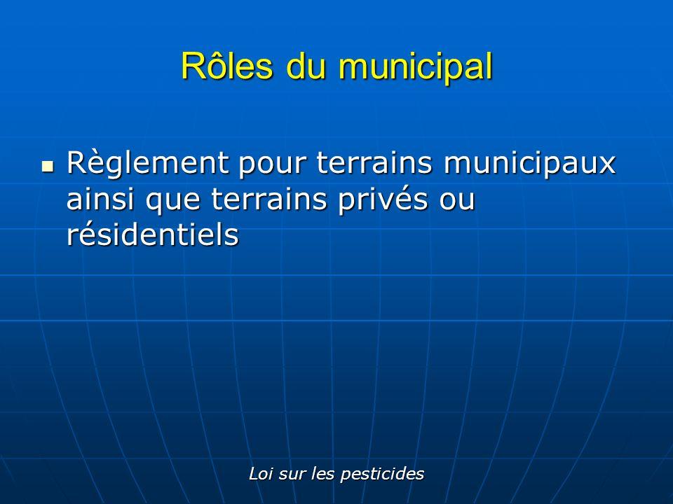 Loi sur les pesticides Rôles du municipal Règlement pour terrains municipaux ainsi que terrains privés ou résidentiels Règlement pour terrains municip