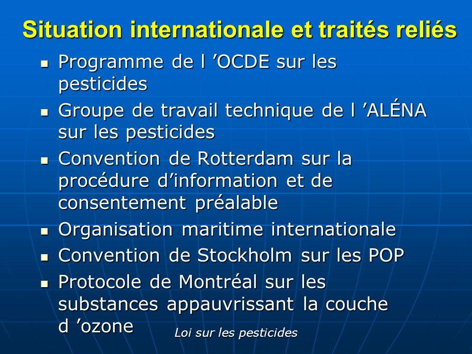 Loi sur les pesticides Situation internationale et traités reliés Programme de l OCDE sur les pesticides Programme de l OCDE sur les pesticides Groupe