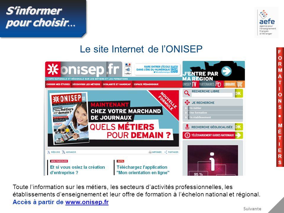 Le site Internet de lONISEP Suivante Toute linformation sur les métiers, les secteurs dactivités professionnelles, les établissements denseignement et leur offre de formation à léchelon national et régional.
