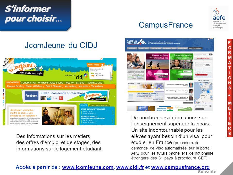 Suivante Des informations sur les métiers, des offres demploi et de stages, des informations sur le logement étudiant.