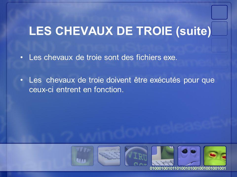 LES CHEVAUX DE TROIE (suite) Les chevaux de troie sont des fichiers exe.