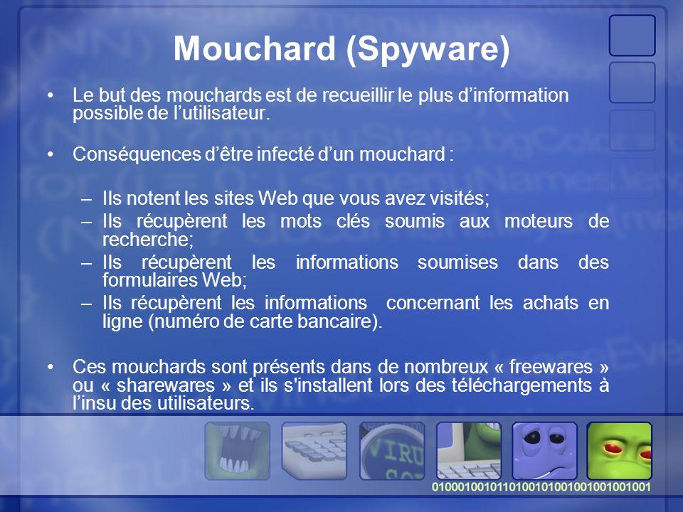Mouchard (Spyware) Le but des mouchards est de recueillir le plus dinformation possible de lutilisateur.