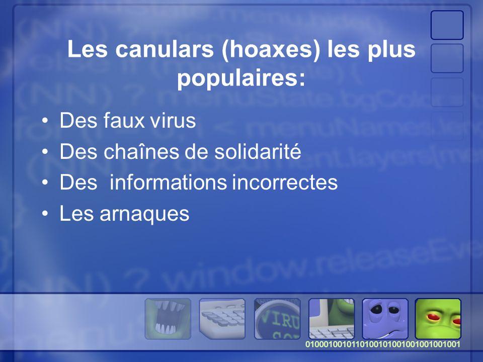 Les canulars (hoaxes) les plus populaires: Des faux virus Des chaînes de solidarité Des informations incorrectes Les arnaques
