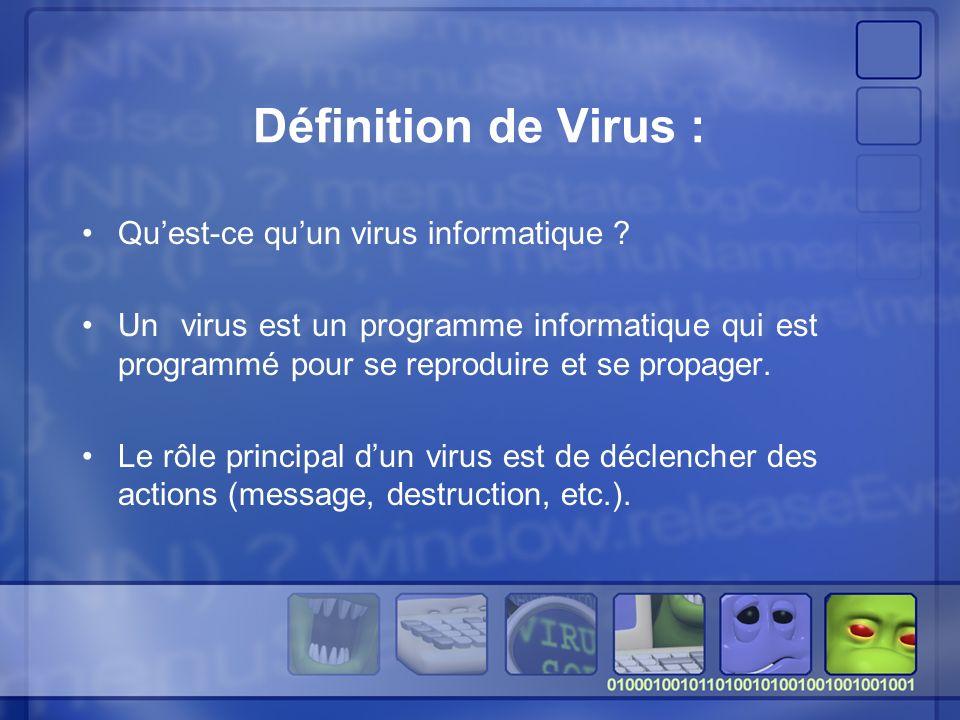 Définition de Virus : Quest-ce quun virus informatique .