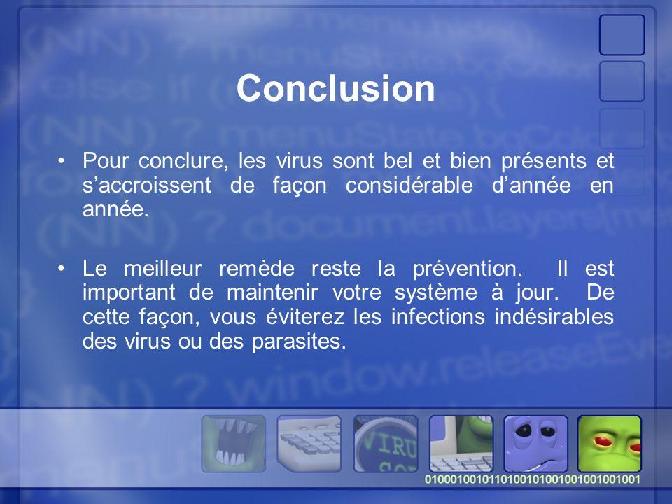 Conclusion Pour conclure, les virus sont bel et bien présents et saccroissent de façon considérable dannée en année.