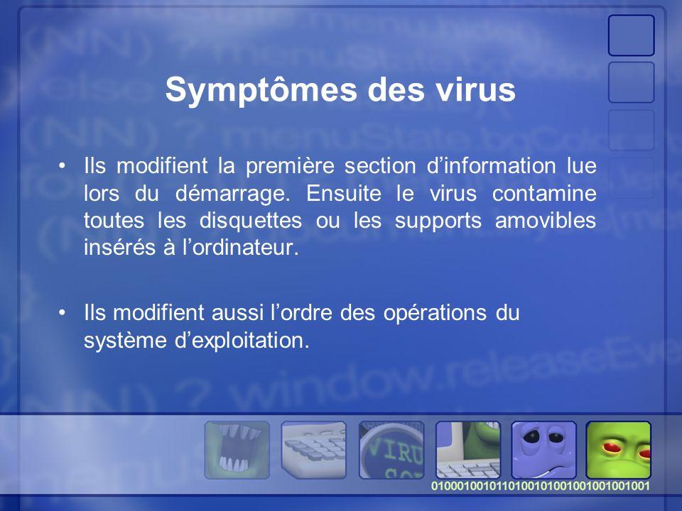 Symptômes des virus Ils modifient la première section dinformation lue lors du démarrage.