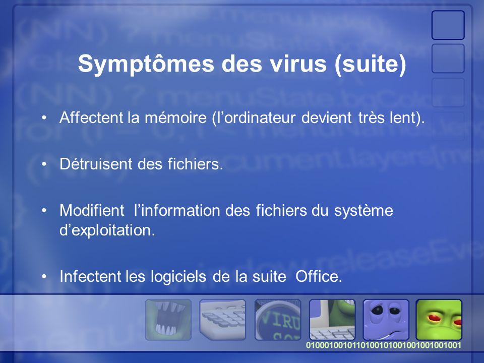 Symptômes des virus (suite) Affectent la mémoire (lordinateur devient très lent).
