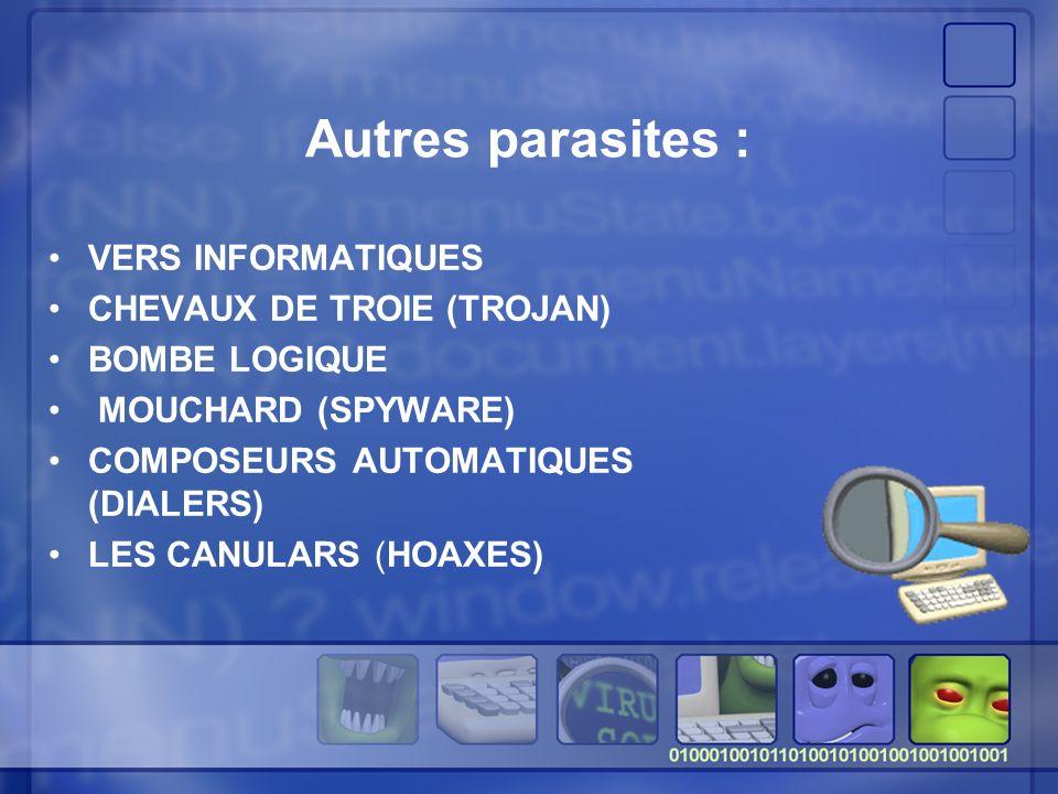 Autres parasites : VERS INFORMATIQUES CHEVAUX DE TROIE (TROJAN) BOMBE LOGIQUE MOUCHARD (SPYWARE) COMPOSEURS AUTOMATIQUES (DIALERS) LES CANULARS (HOAXES)