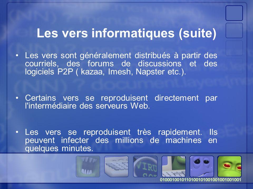 Les vers sont généralement distribués à partir des courriels, des forums de discussions et des logiciels P2P ( kazaa, Imesh, Napster etc.).