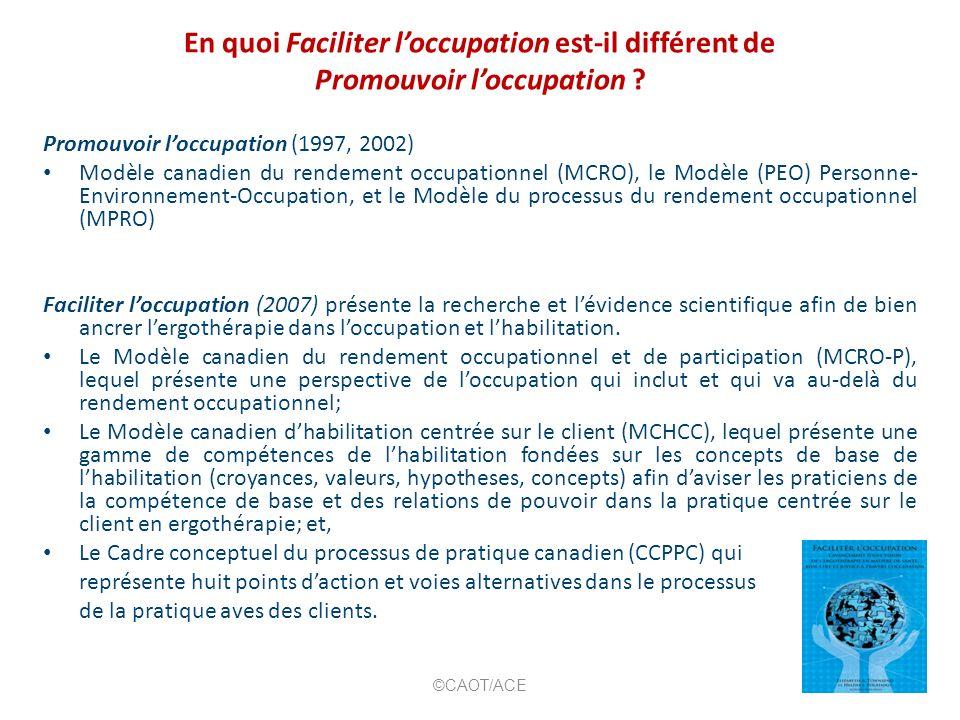 En quoi Faciliter loccupation est-il différent de Promouvoir loccupation ? Promouvoir loccupation (1997, 2002) Modèle canadien du rendement occupation