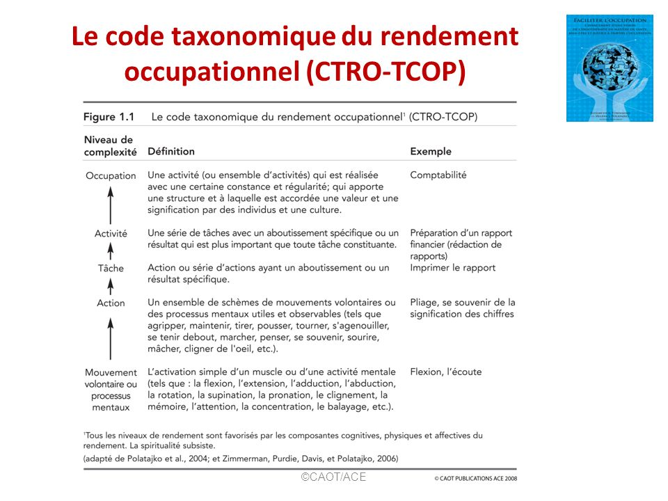 Le code taxonomique du rendement occupationnel (CTRO-TCOP) ©CAOT/ACE