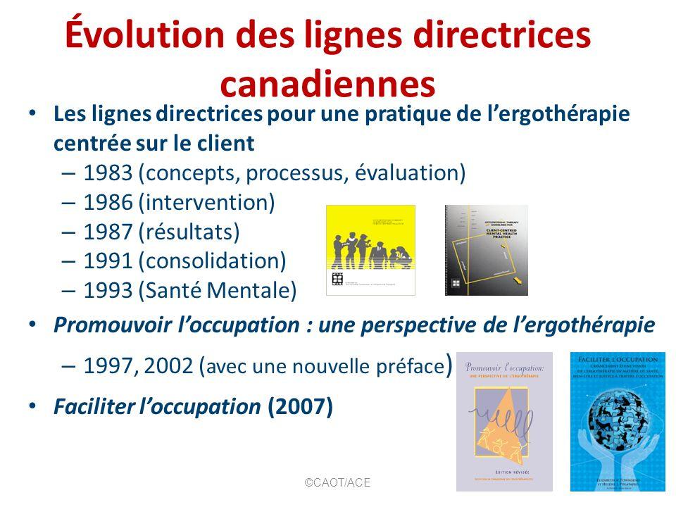 Évolution des lignes directrices canadiennes Les lignes directrices pour une pratique de lergothérapie centrée sur le client – 1983 (concepts, process
