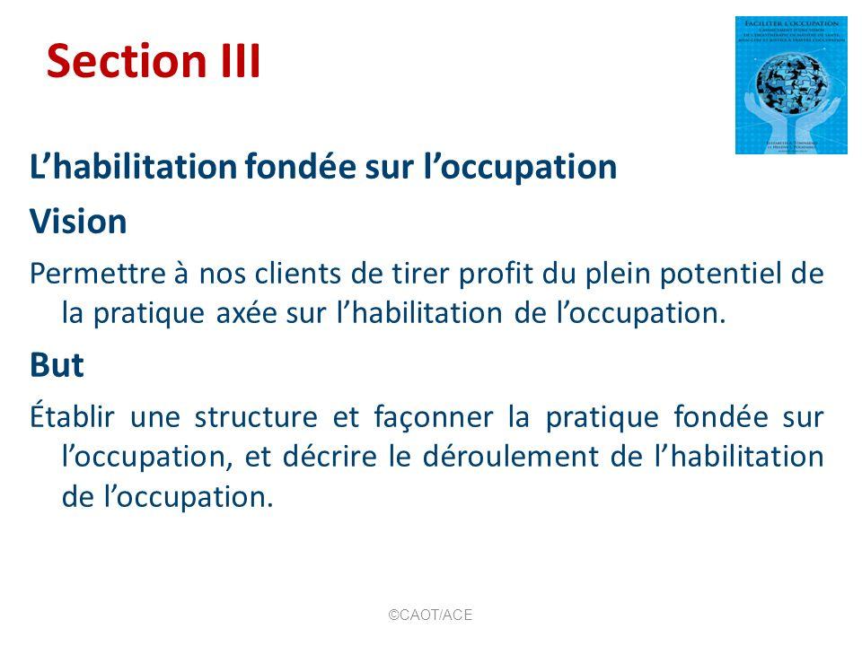 Section III Lhabilitation fondée sur loccupation Vision Permettre à nos clients de tirer profit du plein potentiel de la pratique axée sur lhabilitati