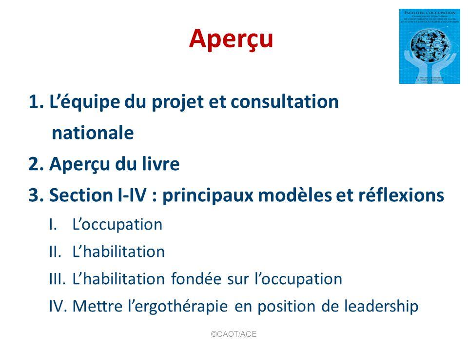 Aperçu 1. Léquipe du projet et consultation nationale 2. Aperçu du livre 3. Section I-IV : principaux modèles et réflexions I.Loccupation II.Lhabilita