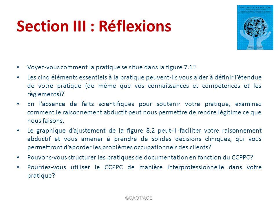 Section III : Réflexions Voyez-vous comment la pratique se situe dans la figure 7.1? Les cinq éléments essentiels à la pratique peuvent-ils vous aider