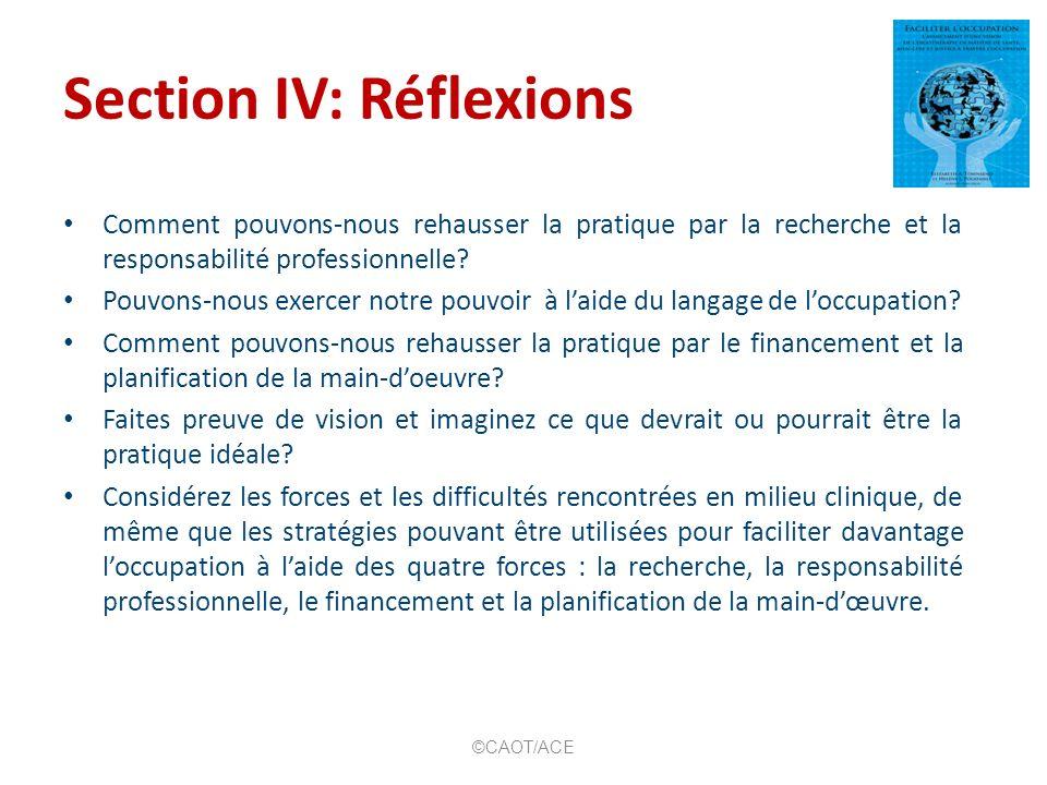 Section IV: Réflexions Comment pouvons-nous rehausser la pratique par la recherche et la responsabilité professionnelle? Pouvons-nous exercer notre po
