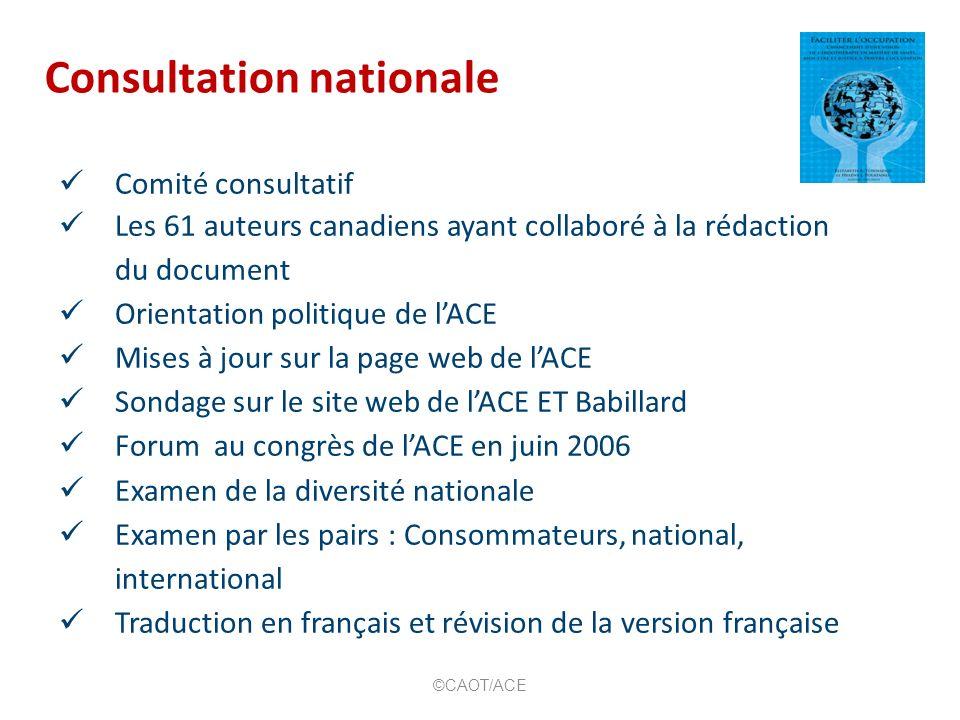 Consultation nationale Comité consultatif Les 61 auteurs canadiens ayant collaboré à la rédaction du document Orientation politique de lACE Mises à jo