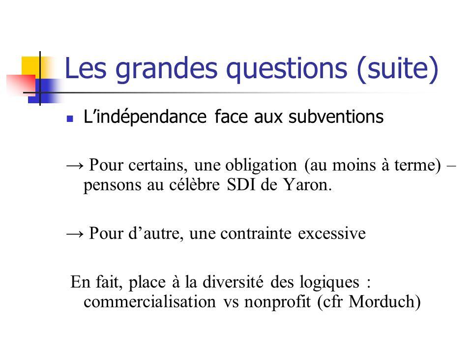 Les grandes questions (suite) Lindépendance face aux subventions Pour certains, une obligation (au moins à terme) – pensons au célèbre SDI de Yaron. P